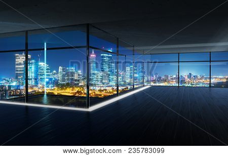 Perspective View Of Empty Wood Floor And Cement Ceiling Interior With City Skyline View . Mixed Medi