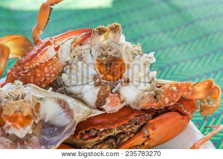 Boiled Or Steamed Flower Crab At Seafood Market
