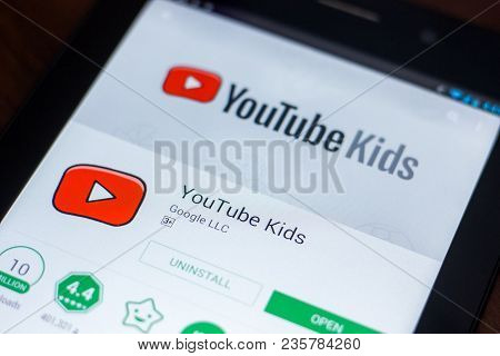 Ryazan, Russia - March 21, 2018 - Youtube Kids Mobile App On The Display Of Tablet Pc