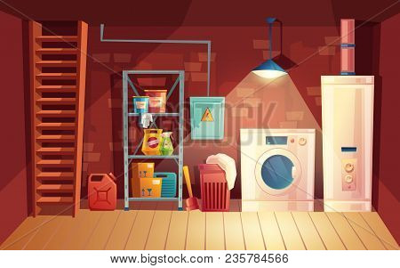 Vector Cellar Interior, Laundry Inside The Basement In Cartoon Style. Storage With Shelves, Furnitur