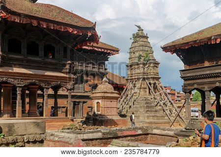 Kathmandu, Nepal - September 22, 2016: Ancient Buildings In Durbar Square On A Sunny Day In Bhaktapu