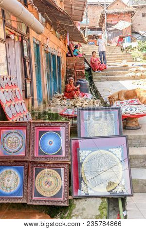 Kathmandu, Nepal - September 21, 2016: Street With Souvenir Shop Selling Traditional Tibetan Art And