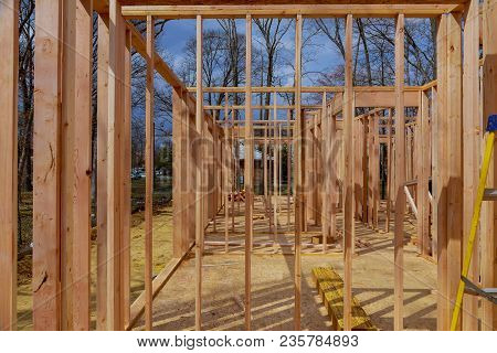 Construction House Framing Wood Of New Residential Home Under Construction.