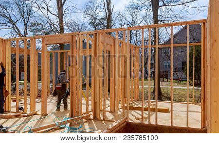 Interior Framing Of A New House Under Construction Framing Structure Wood Frame Of Wooden Houses Hom