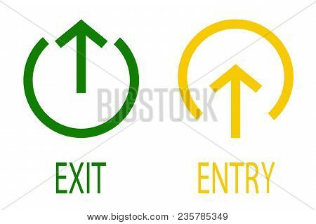 Sign Of Entry And Exit From The Premises. Pointer To The Door Of Public Buildings. Vector Illustrati