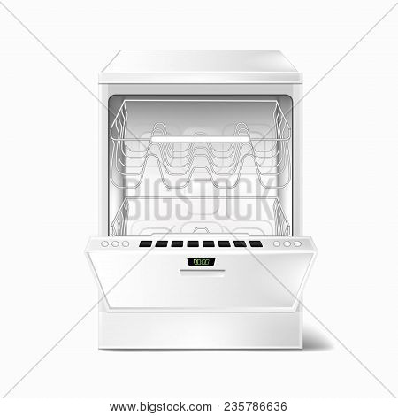 Vector Realistic Illustration Of White Empty Dishwasher With Open Door, With Two Metal Racks Inside,