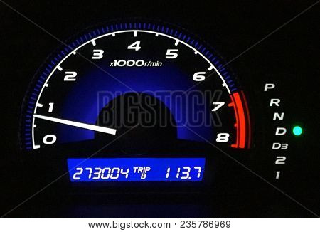 Mileage Display Panel On The Racing Car. Dashboard Control Cars. Analog Display Panel