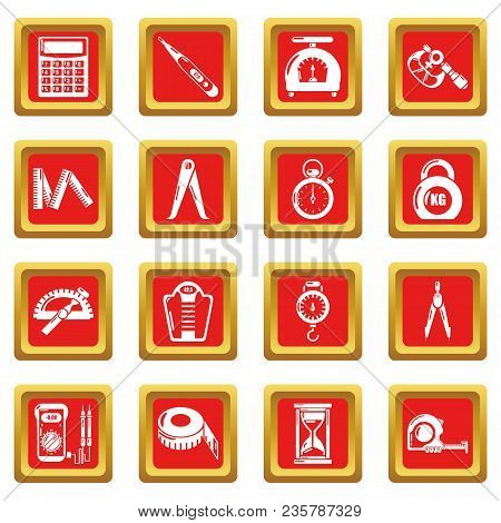 Measure Precision Icons Set Vector Red Square Isolated On White Background