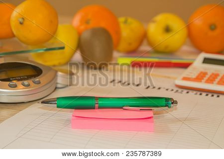 Food And Drink, Still Life, Diet And Nutrition Concept. Low-calorie Fruit Diet. Diet For Weight Loss