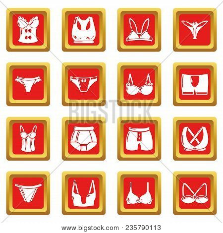 Underwear Types Icons Set Vector Red Square Isolated On White Background