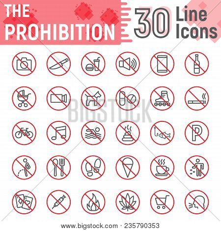 Prohibition Line Icon Set, Forbidden Symbols Collection, Vector Sketches, Logo Illustrations, Ban Si