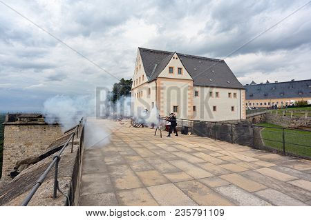 Konigstein, Historical Costumes In The Castle, Germany. Shooting From Old Guns. More Than 250 Cannon