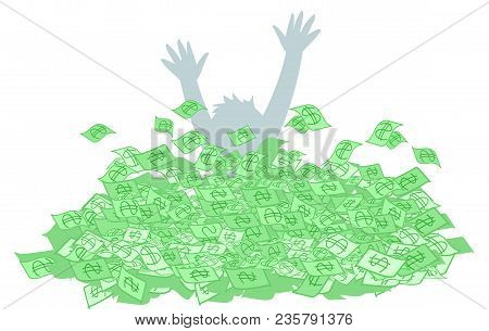 Person Who Suffocates In A Large Amount Of Money, Concept Vector Illustration
