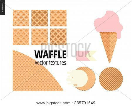 Vector Illustration Of Six Seamless Waffle Patterns And Red Fruit Ice Cream Scoop In A Waffle Cone,