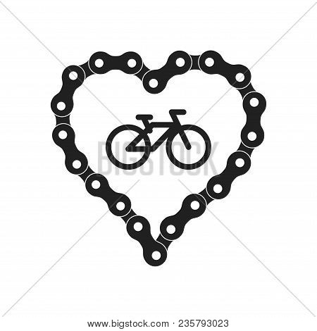 Vector Heart Made Of Bike Or Bicycle Chain. Flat Monochrome Bike Chain. Black Heart Silhouette Plus
