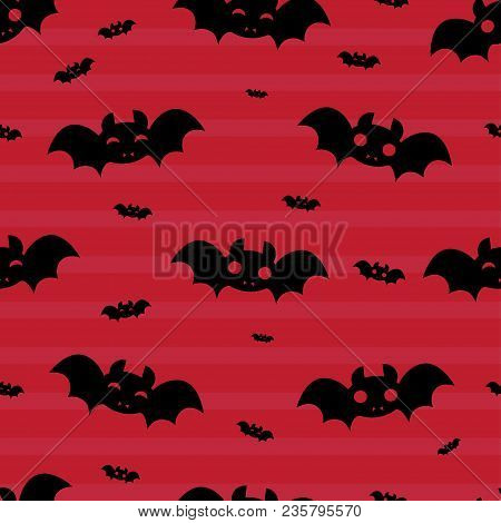 Abstract Seamless Halloween Pattern For Girls Or Boys. Creative Vector Halloween Pattern With Bat, C
