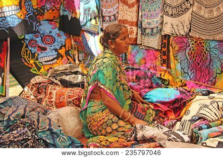 India, Goa, January 24, 2018. Indian Sellers In The Anjuna Market, Goa, India. Indian Markets, Trade