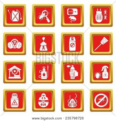 Pest Control Tools Icons Set Vector Red Square Isolated On White Background