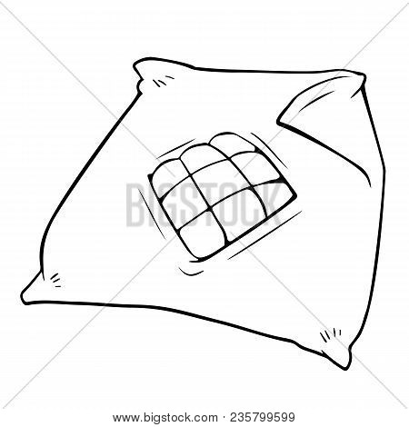 Cartoon Duvet Cover With Blanket. Vector Black And White Illustration Of Cover For Kids