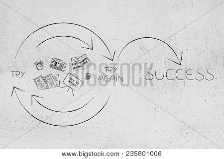 Back To School Icon Into Try And Try Again Until Success Graph With Repetitive Cycle And Arrows, Con