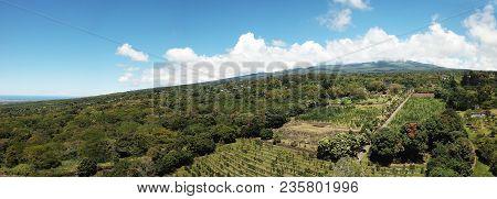 Panoramic Aerial View Of The Slopes Of Mauna Loa, Big Island Hawaii