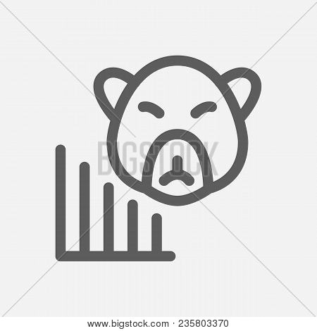 Bear Market Icon Line Symbol. Isolated Vector Illustration Of  Icon Sign Concept For Your Web Site M