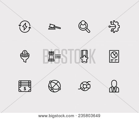 Economy Icons Set. Global Network And Economy Icons With Conversion Funnel, Business Strategy And Bu