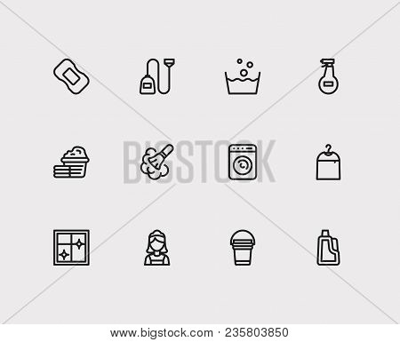 Laundry Icons Set. Cleaning Maid And Laundry Icons With Laundry, Window Cleaning And Dry Cleaning. S