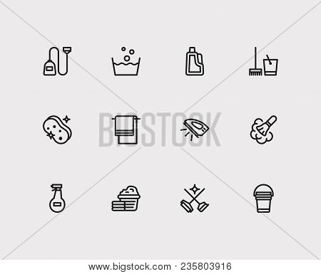 Hygiene Icons Set. Cleaning Service And Hygiene Icons With Cleaning Sponge, Cleaning Detergent And L
