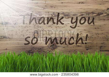 English Text Thank You So Much. Spring Season Greeting Card. Sunny Aged Wooden Background With Gras.