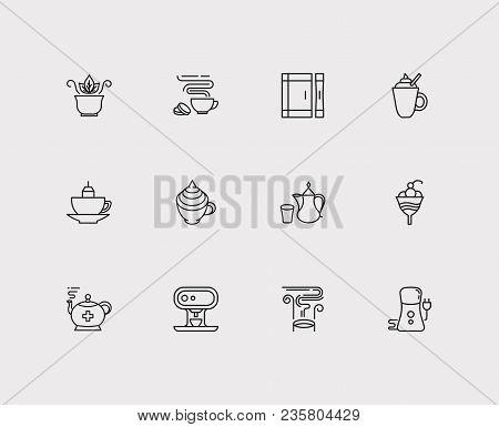 Tea Icons Set. Coffee With Cream And Tea Icons With Mug With Teabag, Green Tea And Coffee Grinder. S