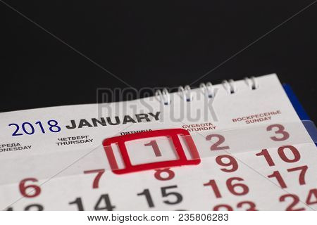 2018 January.calendar Page With Marked Date Of 1st Of January On Black