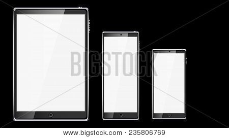 Set Of Black Realistic Tablet Computer Mobile Smart Smart Mobile Phone, Smartphone With Glossy Blank