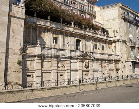 Lateral View Of Kings Fountain Monument (chafariz Del Rei) In Alfama Disctrict, The Most Famous And