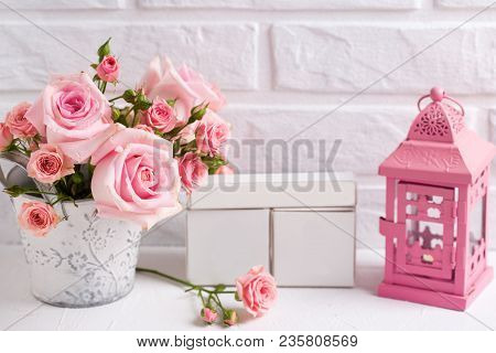 St. Valentine Day Background. Bunch Of Tender Pink Roses Flowers,decorative Pink Lantern And Empty C