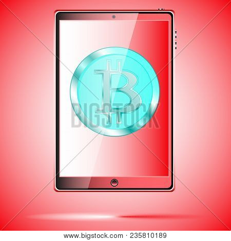 A Large Black Realistic Mobile Smart Touch-sensitive Slim Tablet Computer With A Blue Coin Bitcoin,