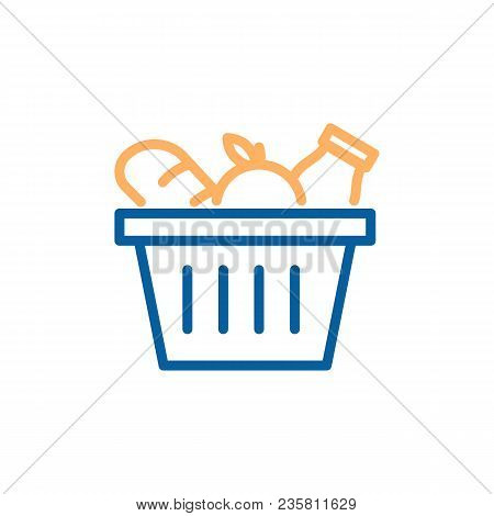 Grocery Basket With Bread, Apple And Milk. Vector Trendy Thin Line Icon Illustration Design For Food