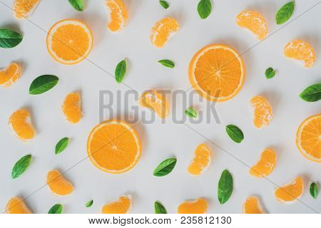 Flat Lay Fresh Orange Isolated On White Background