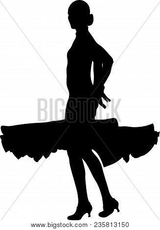 Ballroom Dancing Silhouette Woman Dancer Black Ball Gown