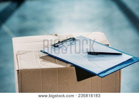 View Of Empty Cargo Declaration On Cardboard Package