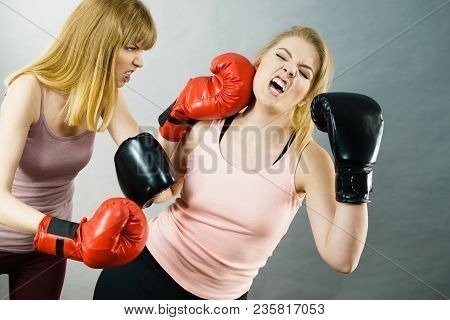 Two Agressive Women Having Boxing Fight