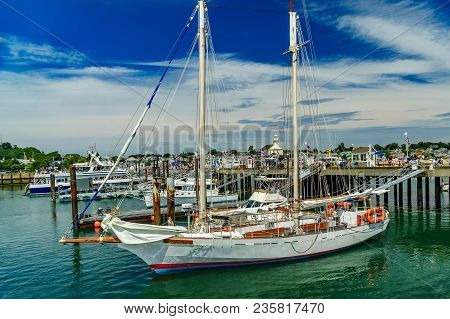 Provincetown, Cape Cod, Massachusetts, Us - August 15, 2017 Yacht And His Crew In Marina Us