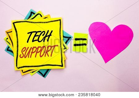 Text Sign Showing Tech Support. Conceptual Photo Help Given By Technician Online Or Call Center Cust