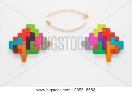 The Concept Of Exchange Of Ideas, Thoughts. Colourful Shapes Of Abstract Brain For Concept Of Idea A