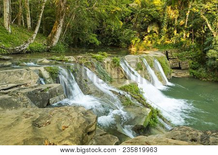Natural Water Cascades Of San Antonio Waterfall In Toledo Belize