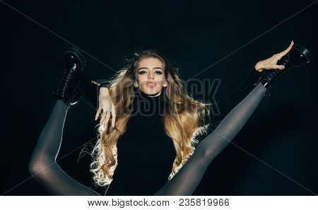 Fashionable Lady With Make Up And Skinny Legs In Shoes. Girl With Long Hair Holds Legs Of Another Wo