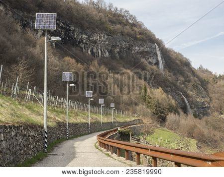 Road In Trentino With Photovoltaic Plant For A Good Impact And Environment