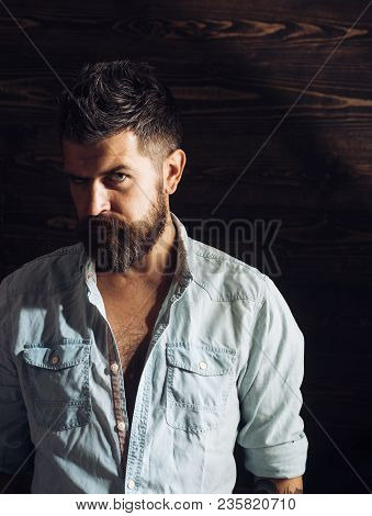 Fashion And Male Beauty Of Graying Man. Haircut Of Bearded Man, Archaism. Man With Beard And Mustach