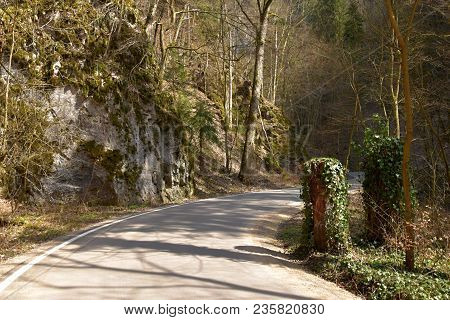 Mystery Tour. A Winding Road Leading Rocky Valley.mystery Tour