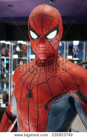 The Character Of The Spiderman. In The Museum Of Film Legends In Prague 30.3.2018.